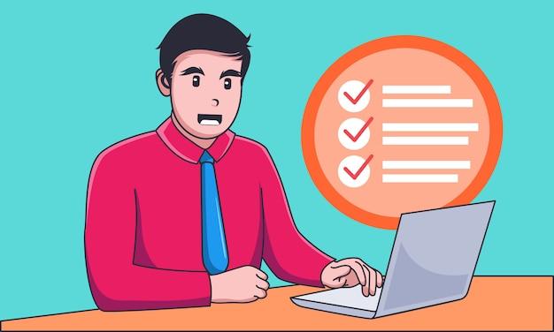 Jeune homme d'affaires travaillant sur un ordinateur portable