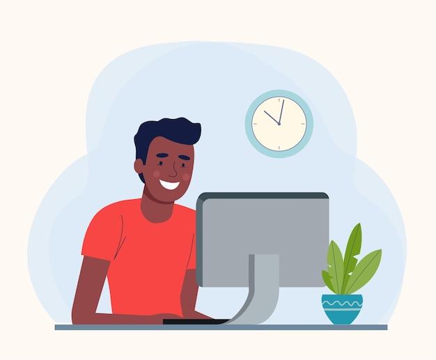 Jeune homme afro travaillant à son bureau. illustration vectorielle