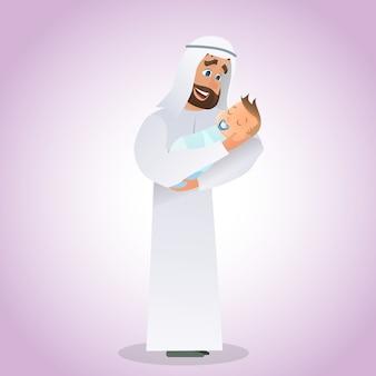 Jeune homme arabe tenant un bébé nouveau-né