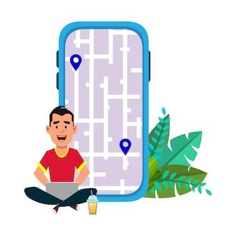 Jeune homme assis à l'extérieur ou vérifiant les itinéraires et l'emplacement. utilisation d'une application mobile et informatique avec carte.