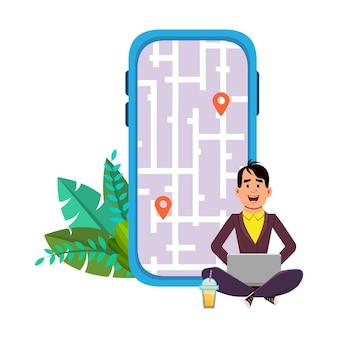 Jeune homme assis à l'extérieur ou vérifiant les itinéraires et l'emplacement. utilisation d'un ordinateur et d'une application mobile avec carte.