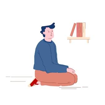 Jeune homme assis sur les genoux