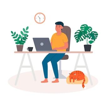 Jeune homme au bureau à domicile pour ordinateur portable formation communication et commande de marchandises travail à distance en ligne