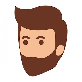 Jeune homme au caractère avatar tête de barbe