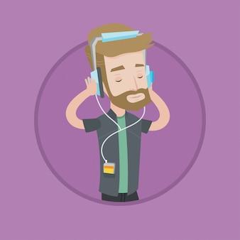 Jeune homme au casque d'écoute de la musique.