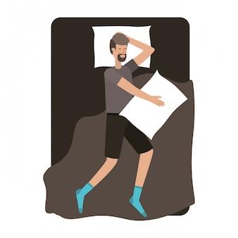 Jeune homme au lit personnage d'avatar