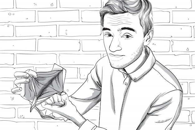Jeune homme au visage sérieux montrant son portefeuille vide. fond de mur de brique. dessin au trait