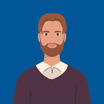 Jeune homme à la barbe sur fond bleu.