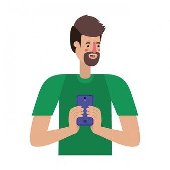 Jeune homme avec barbe et smartphone
