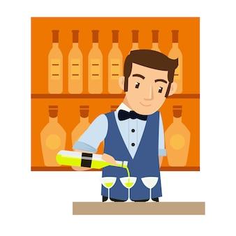 Jeune homme barman mélangeant du vin au bar