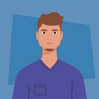 Jeune homme beau avec une chemise décontractée sur fond bleu.