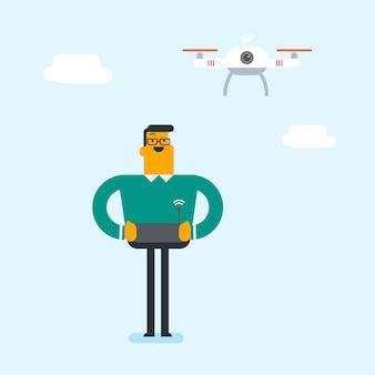 Jeune homme blanc caucasien drone volant.