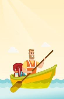 Jeune homme blanc caucasien sur un kayak.