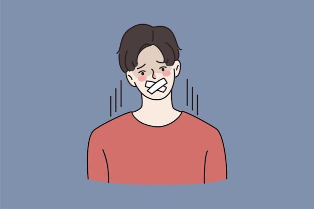 Un jeune homme à la bouche scellée interdit de parler