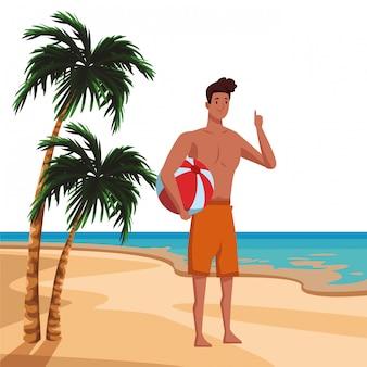 Jeune homme en caricature de l'heure d'été