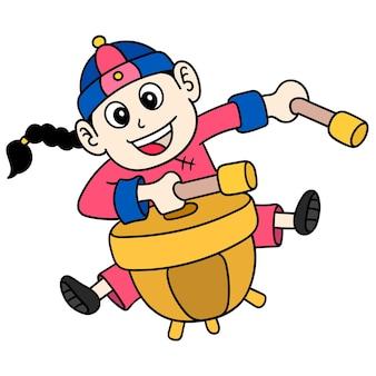 Un jeune homme célébrant le nouvel an chinois frappant le tambour, doodle dessiner kawaii. illustration
