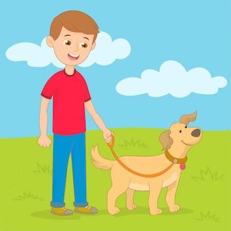 Jeune homme, chien marche