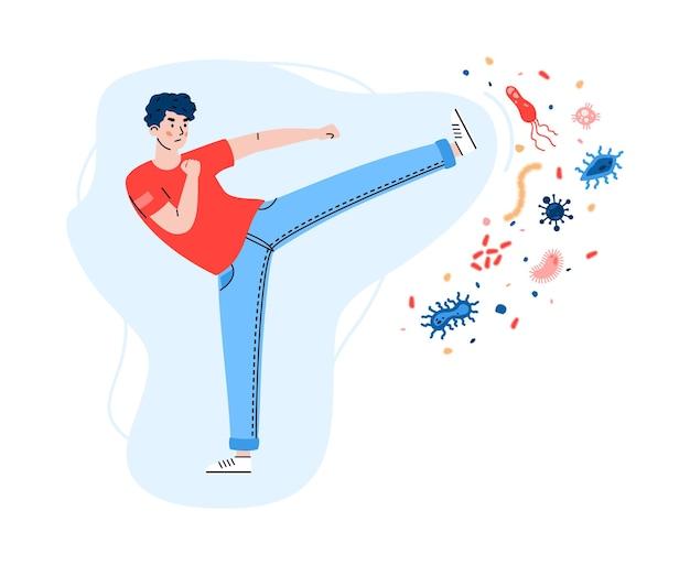 Jeune homme combat le virus et les bactéries cartoon illustration plate