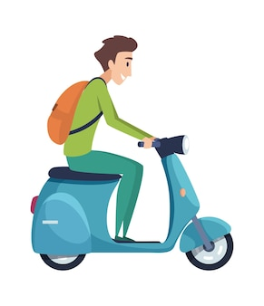 Jeune homme, conduire moto