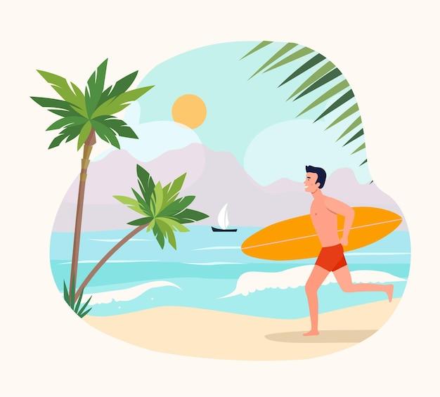 Le jeune homme court avec une planche de surf. illustration vectorielle