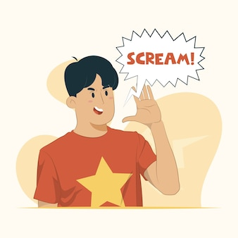 Jeune homme criant et crier fort concept de communication