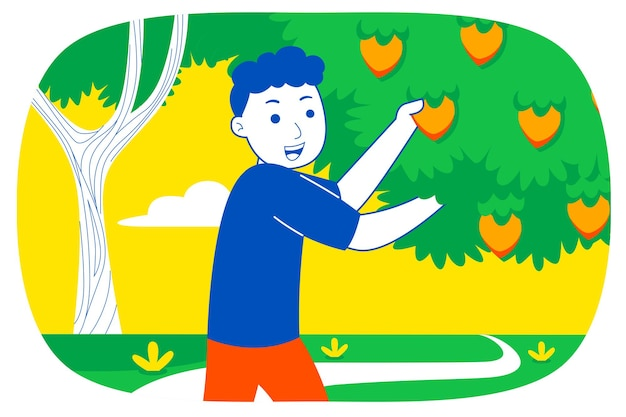 Jeune homme cueille des fruits dans le jardin.