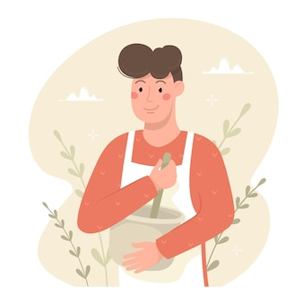 Le jeune homme cuisine. illustration vectorielle en style cartoon.