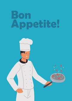 Jeune homme cuisinier poêle à main illustration design