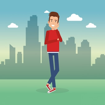 Jeune homme dans le parc