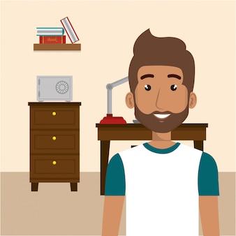 Jeune homme dans la scène de personnage de bureau