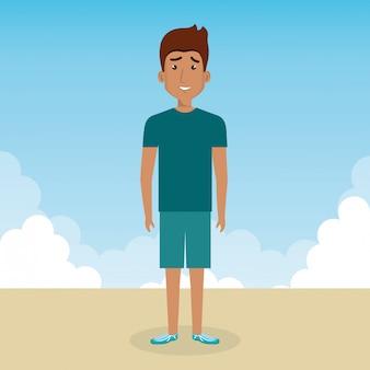 Jeune homme dans la scène de personnage de paysage