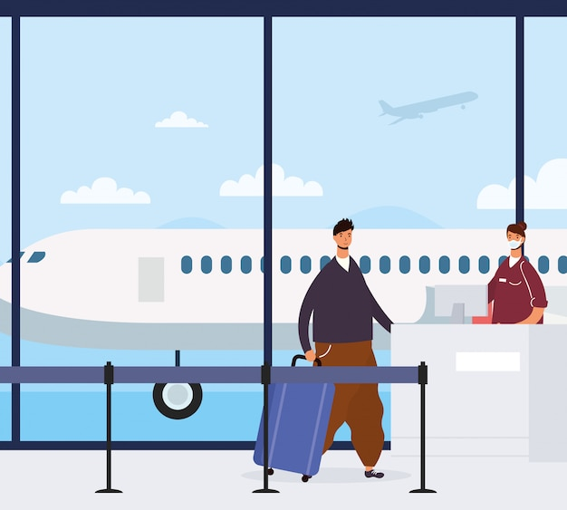 Jeune homme décontracté avec valise à l'aéroport