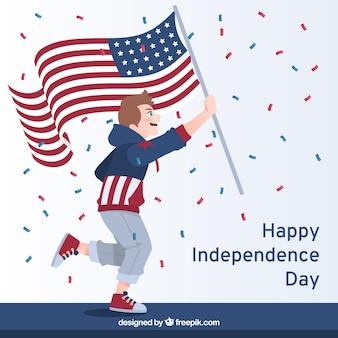 Jeune homme avec un drapeau américain