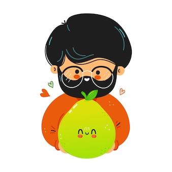 Jeune homme drôle mignon tenir le pomelo à la main