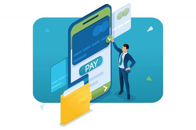 Jeune homme effectue un paiement en ligne via une application mobile. concept de paiement rapide.