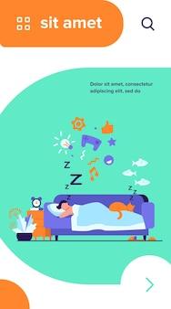 Jeune homme endormi sur le canapé avec illustration vectorielle plane chat isolé. personnage de dessin animé rêvant sous la couette la nuit