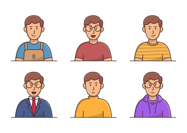 Jeune homme avec un ensemble d'avatar de vêtements différents. collection d'avatars de jeunes hommes souriants