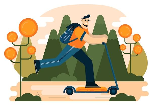 Jeune homme, équitation, scooter électrique, vecteur, illustration