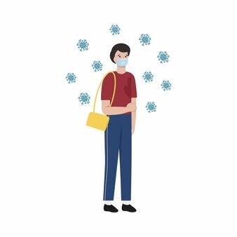 Un jeune homme est atteint du coronavirus covid 19. illustration vectorielle dans un style plat. l'épidémie est le coronavirus et les mesures de sécurité.