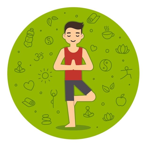 Jeune homme faisant du yoga