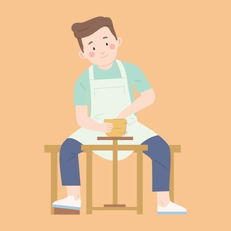 Jeune homme fait de la poterie