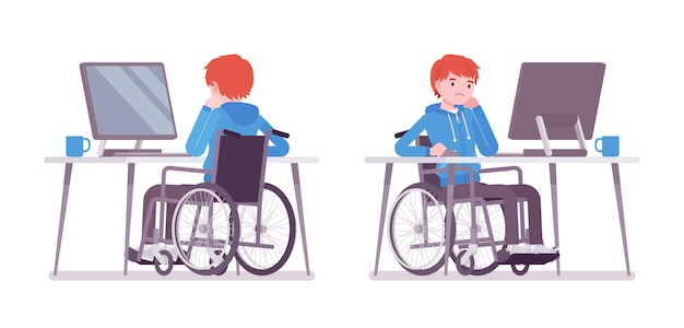 Jeune homme en fauteuil roulant travaillant avec un ordinateur