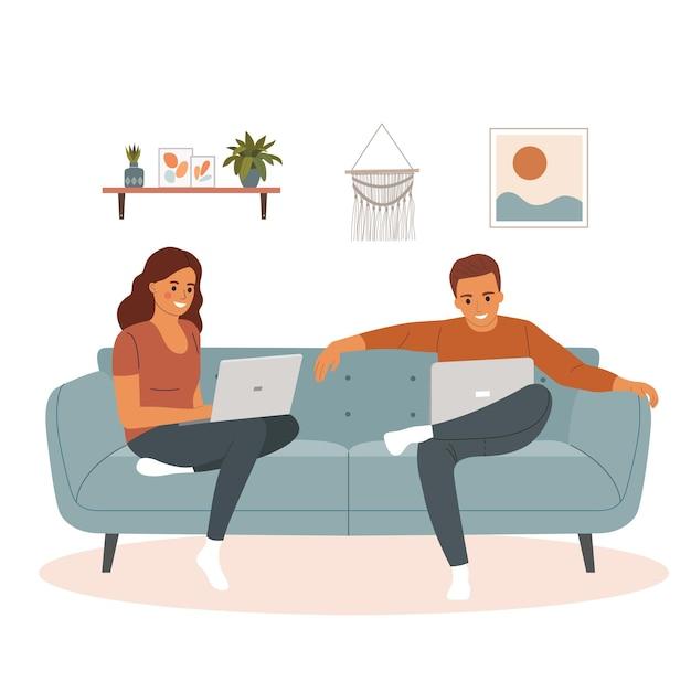 Jeune homme et femme assis sur le canapé avec ordinateur portable. illustration de dessin animé de style plat de vecteur