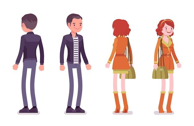 Jeune homme et femme debout