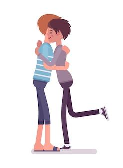 Jeune homme et femme donnant un gros câlin