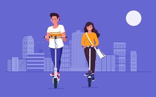 Jeune homme et femme équitation scooters électriques sur route en ville illustration vectorielle