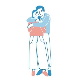Jeune homme et femme étreignant chaudement ou câlins. garçon debout derrière la fille et l'embrassant. personnages de dessins animés mâles et femelles mignons amoureux. couple romantique à la date. illustration colorée