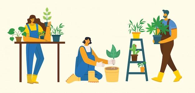 Jeune homme et femme jardinier tenant un pot de fleur. illustration vectorielle dans un style plat