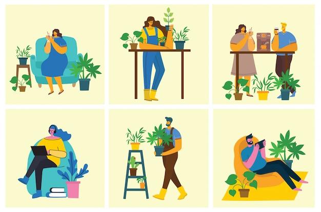 Jeune homme et femme jardinier tenant un pot de fleur.