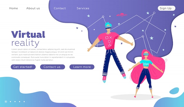 Jeune homme et femme à lunettes de réalité virtuelle sur un violet de technologie abstraite. modèle de page de destination.